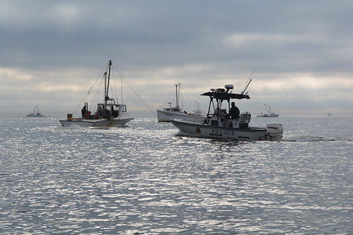 NRP patrol boat inspects oyster boats in Broad Creek, Talbot County.