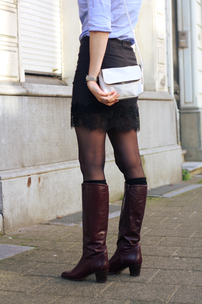 lace slip skirt tall vintage boots