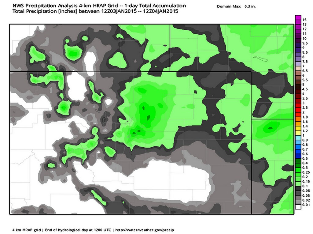 Estimated 24-hr precipitation ending 5am January 4, 2015. Weatherbell Analytics