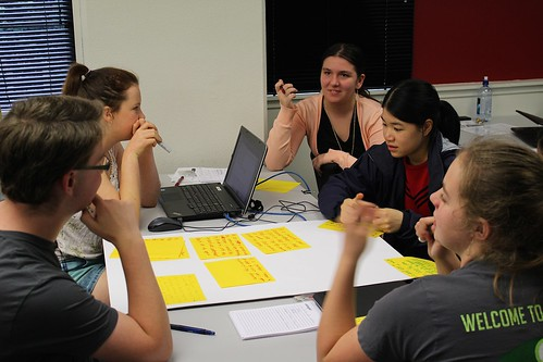 Students working in a group during the Academy