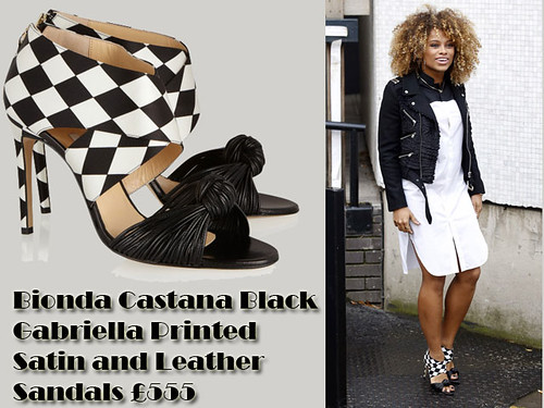 Fleur East in Bionda Castana Black Gabriella Printed harlequin Satin and Leather Sandals & an an Elevate London black and white shirt dress