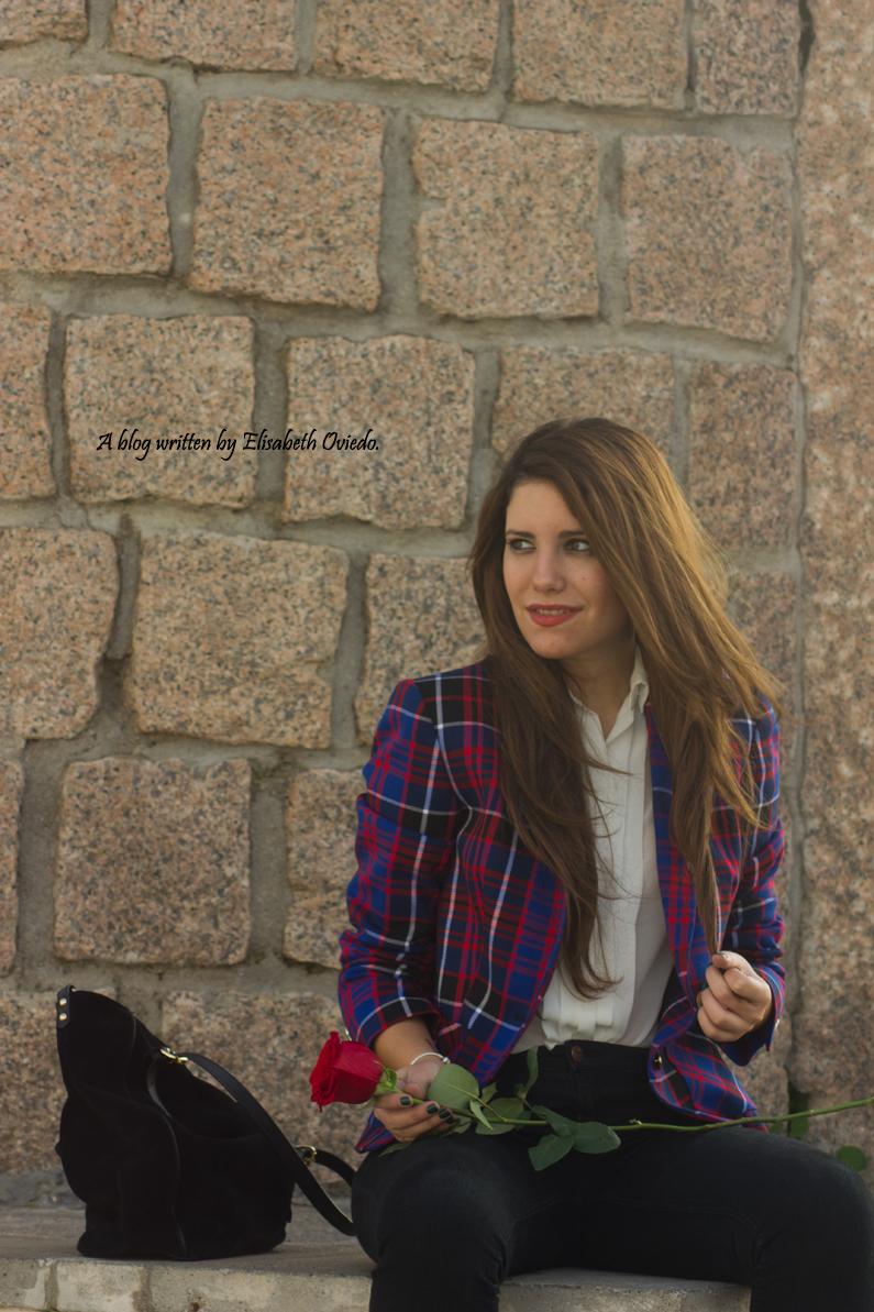 chaqueta anne klein estilo tartán cuadros azules y rojos - HEELSANDROSES(18)