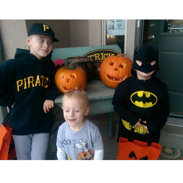 We definitely aren't winning any awards for Halloween creativity.  But maybe we could for desperation...to get out of the house and solicit for candy...most of which will contain peanuts and we will just have to throw it away. #allergies