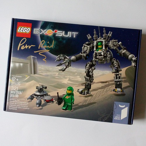 LEGO Ideas Exo-Suit signed by Pete Reid and Mark Stafford