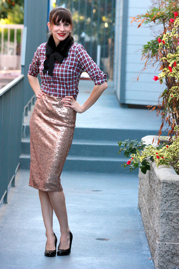 Sequin Skirt, Plaid Shirt, Holiday Outfit