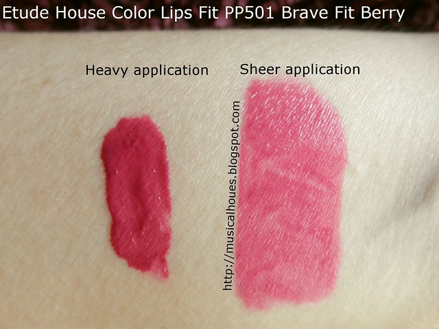 Etude House Color Lips Fit PP501 Brave Fit Berry Swatch