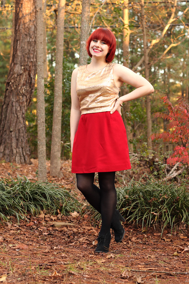 Gold Sequined Crop Top, Red Wool Pencil Skirt, Black Tights, and Ankle Boots