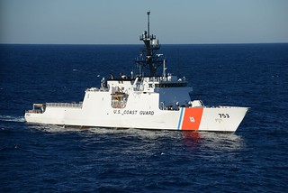 The Coast Guard Cutter Hamilton, a 418-foot Legend Class Cutter, arrives in Miami Nov. 11, 2014. The Hamilton is the Coast Guard's fourth National Security Cutter homeported in Charleston, S.C. (U.S. Coast Guard photo by Petty Officer 3rd Class Mark Barney)