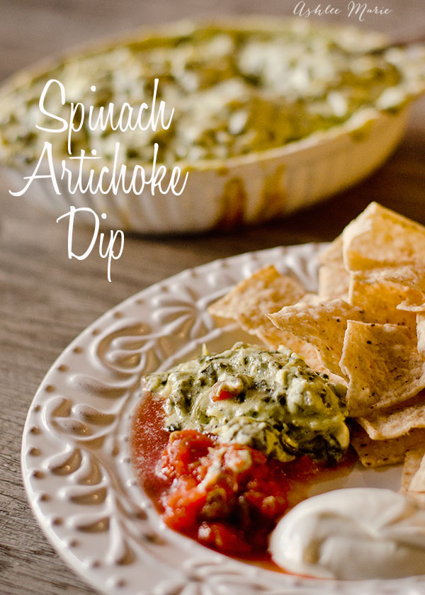 the most delicious appetizer you'll ever eat, cheesy, spinach artichoke deliciousness