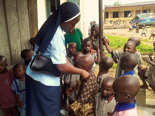 Jacinta Otene SSL helping local school children in Ibadan as part of the Bridge of Care Project