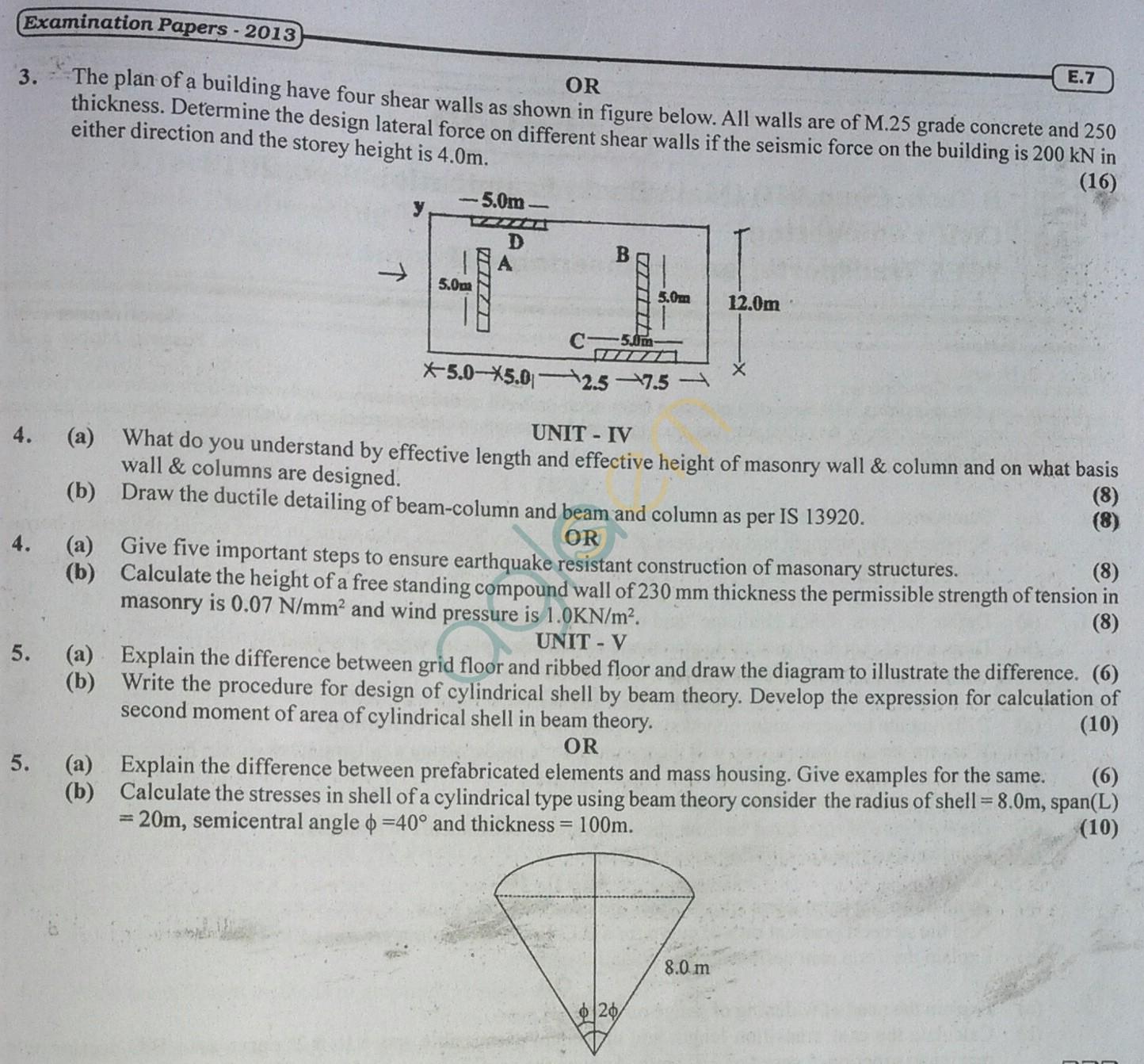 RTU: Question Papers 2014 - 7 Semester - CE - 7E4034