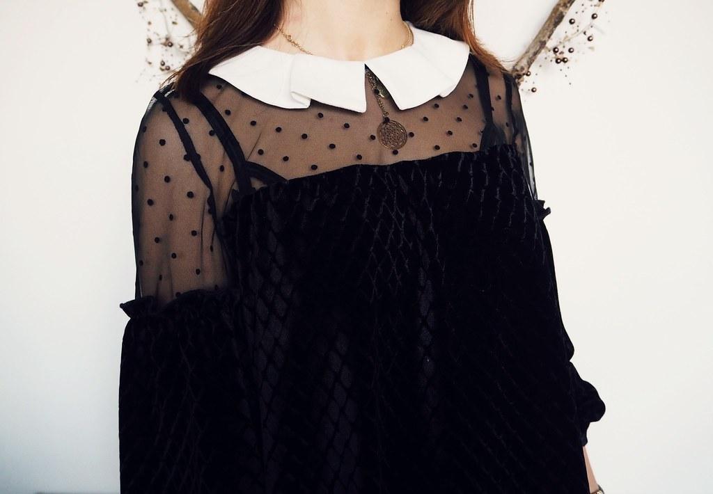 Dahlia velvet peter pan collar dress 4