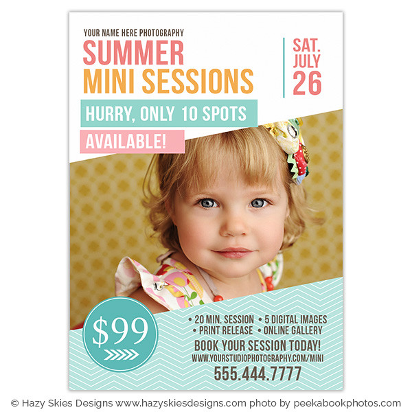 Summer Mini Session Marketing Template for Photographers www.hazyskiesdesigns.com