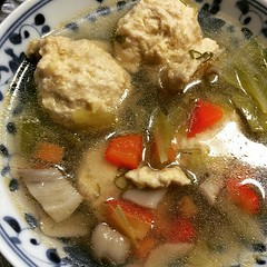 chicken meatball soup...with lots of ginger, veggies & a little chili oil♡ #homemade #soup #veggies #japan #dinner