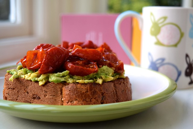 Slow Roasted Cherry Tomato Avocado Toast