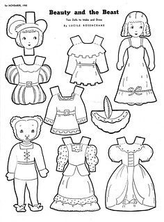 Beauty and the Beast paper dolls 1950