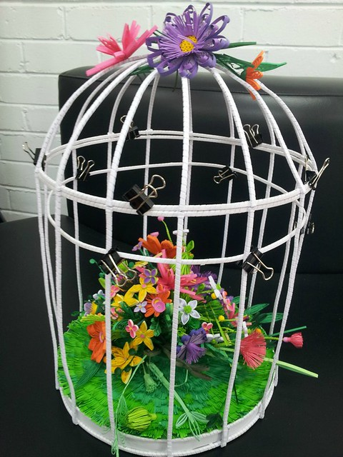 Quilled Bird Cage in Progress