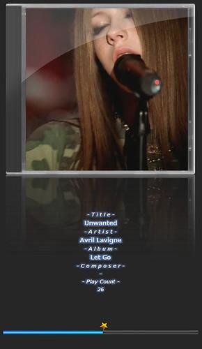 """Avril Lavigne-3 音楽再生ソフトウェアのfoobar2000のスクリーンショット画像。 """"Avril Lavigne"""" さんのアルバムである""""Let Go"""" の """"Unwanted"""" が再生されている。"""