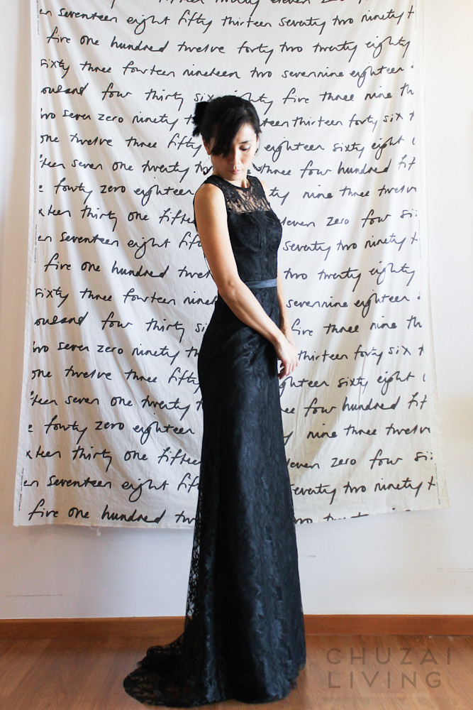Black lace gown with string back