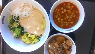 Potato mushtard mash, raw broccoli salad, daikon and garlic pickle, cauliflower and lentil smash, chickpea curry, mushrooms in ginger at Supercharger