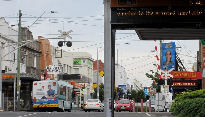 Bentleigh bus stops and level crossing