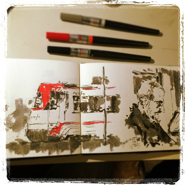 #urbansketch #pentel #train #donostia