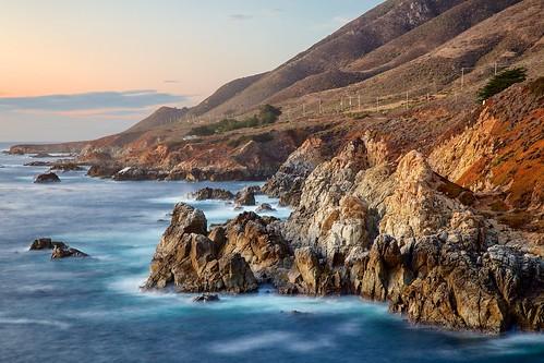 ocean california statepark sunset seascape landscape coast pacific shoreline bigsur rocky shore jagged garrapatastatepark garrapata