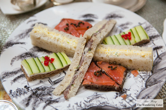 "Our tea sandwiches - Egg salad, Roast beef on rye, Cucumber & grapefruit ""caviar"" and somked salmon with fried capers"