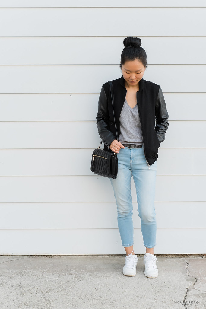 Faux Leather Jacket, Tee, and Jeans 03