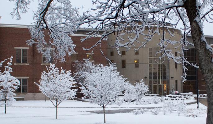 Newman-University-snow-Gorges-atrium-sunrise