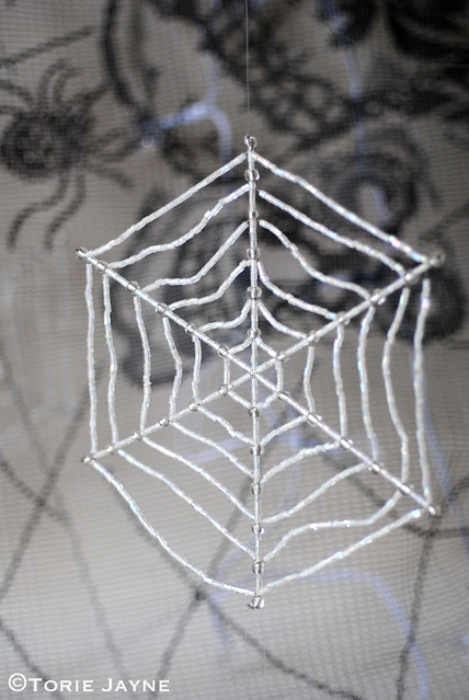 Handmade beaded spiderweb