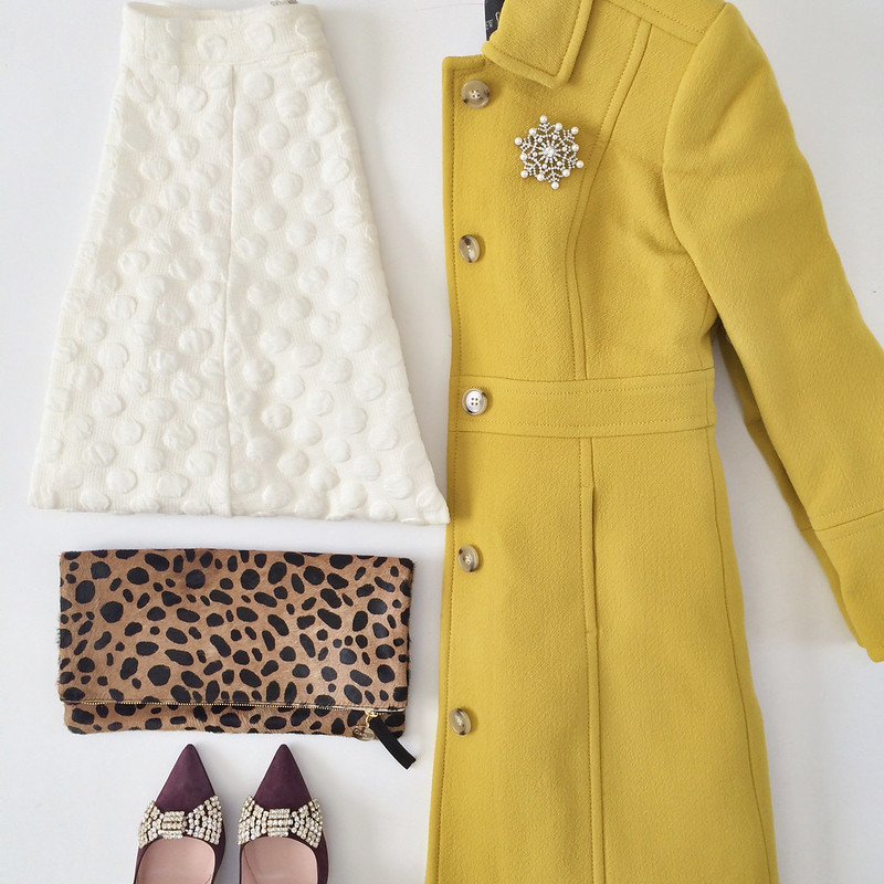 Anthropologie Dotted Jacquard Skirt and J.Crew double cloth lady day in deep chartruese