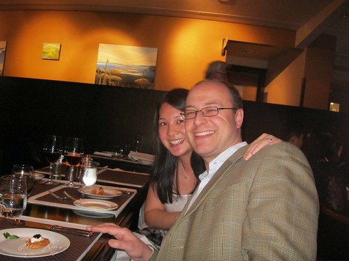 Mei and Dan at dinner on New Year's Eve in Toronto