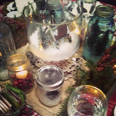My favorite table with the little snow scene and trees in Ball jars.