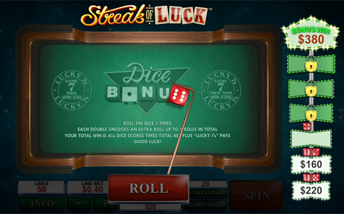 free Streak of Luck dice bonus game