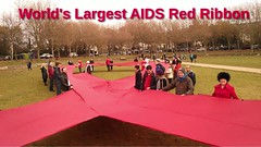 World's Largest AIDS Red Ribbon - World AIDS Day 2013