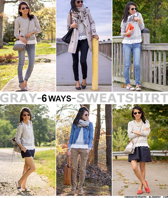6 ways to wear a gray sweatshirt