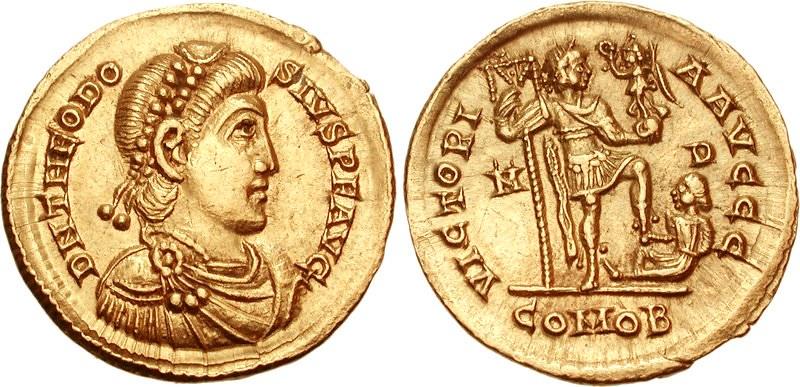 Depiction of Theodosius I on AV Solidus, Mediolanum mint, Milan