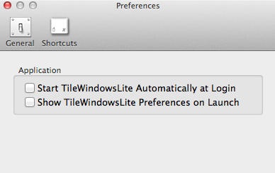 TileWindows Lite Preferences Window