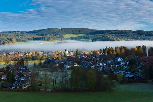 morning autumn mist black mountains church fog forest sunrise germany village baden schwarzwald badenwurttemberg hinterzarten hochschwarzwald wurttemberg hitechfilters hitechndgrad03hard