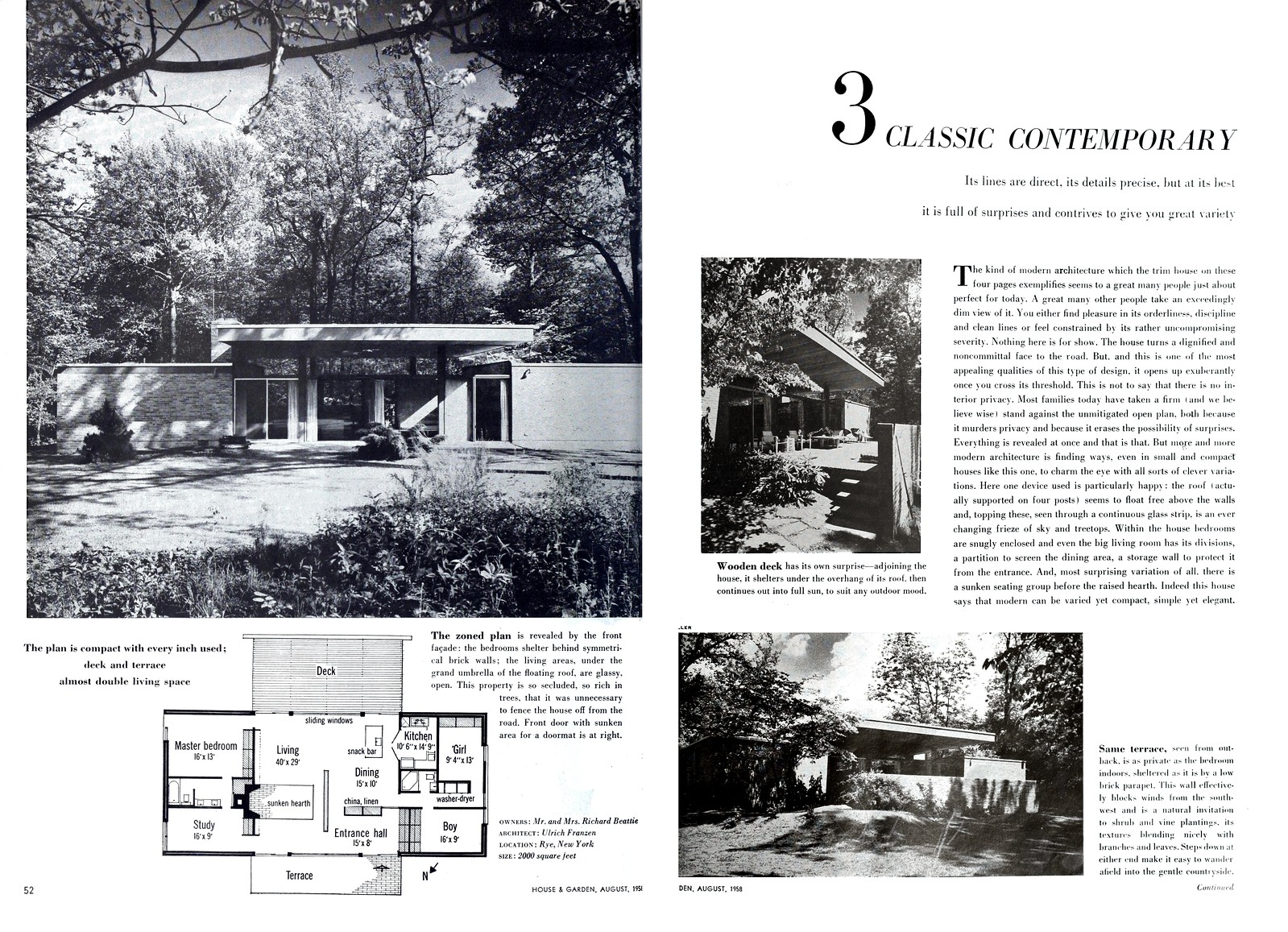 Ulrich Franzen - Beattie Residence - Rye, New York - 1958 (1 of 2)