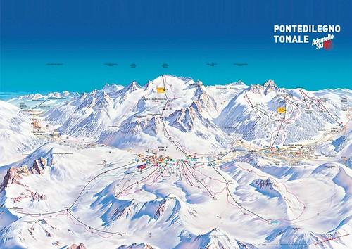 Tonale Ponte di Legno - mapa sjezdovek