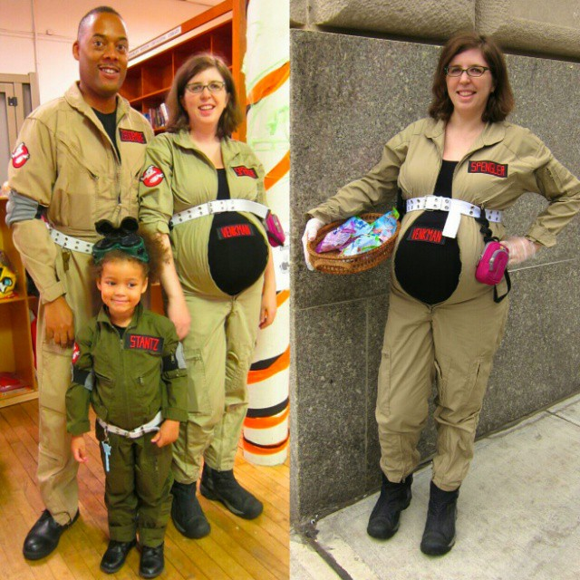 Who ya gonna call? All 4 of us in our #Ghostbusters #Halloween costumes. We had a little #foodallergy friendly party at Z's school and handed out little toys and safe treats.