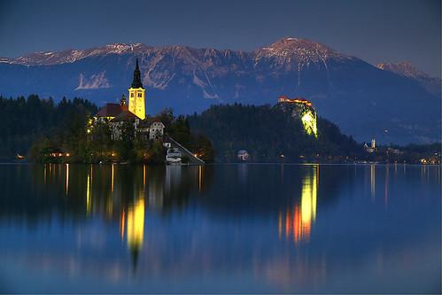 lake dusk slovenia bled