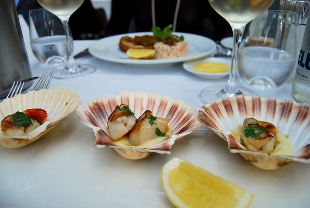 Seared Isle of Mull Hand-dived Scallops with Creamed Potato & Garlic Butter at Roast, Borough Market