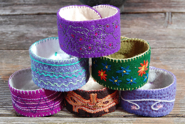 embroidered felt cuffs #9 #8 #3 #2 #5 #6