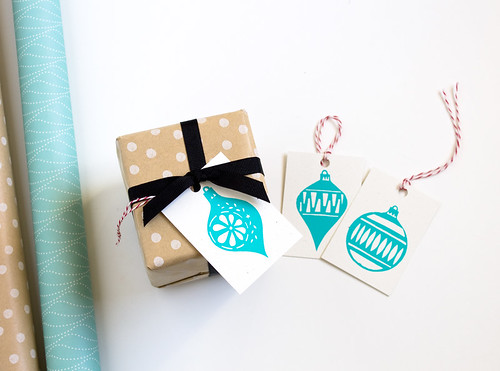 Hand Screen Printed Holiday Gift Tags