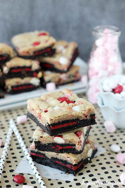 Double Peppermint Brookies with Marshmallows and Peppermint MnMs