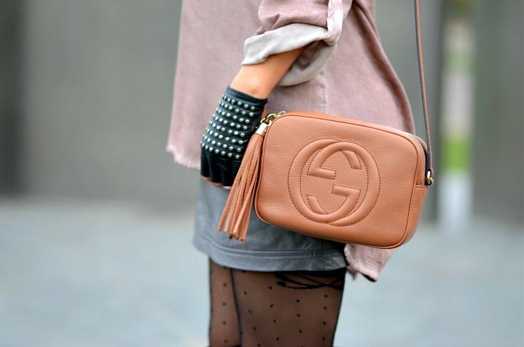 DSC_7896 Gucci disco bag, studded leather fingerless gloves, polkadot tights, Tamara Chloé