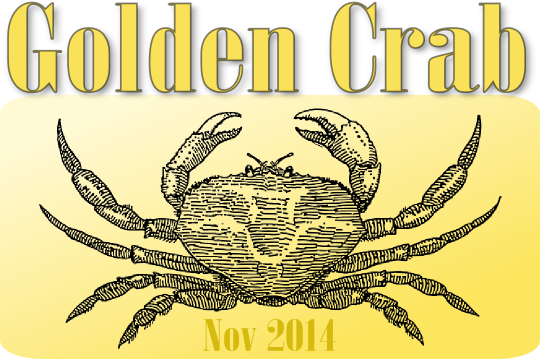 Beer bottle label for Golden Crab beer